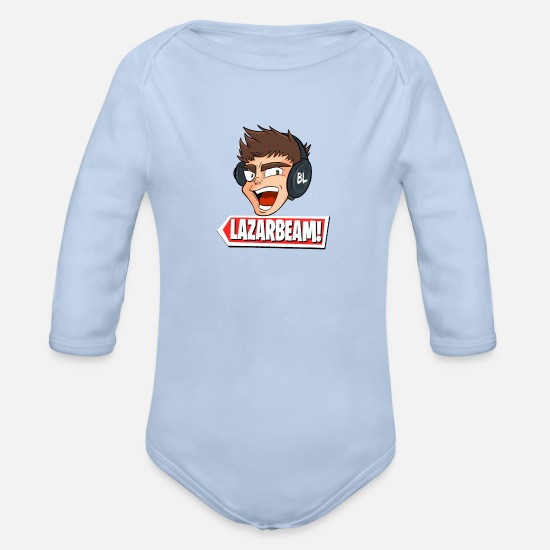 Beam Baby Clothing - Lazarbeam Gingy youtuber merch - Organic Long-Sleeved Baby Bodysuit sky