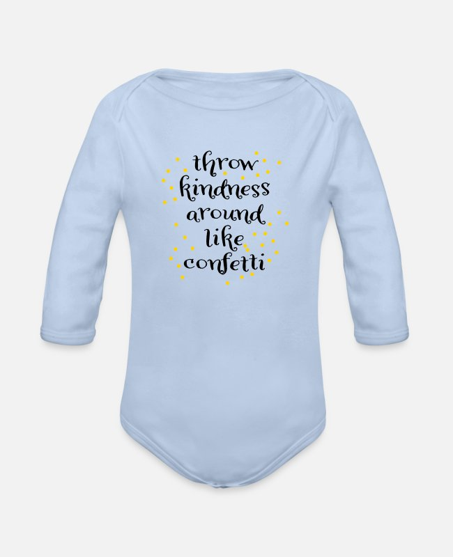 Kind Baby One Pieces - kindness - Organic Long-Sleeved Baby Bodysuit sky