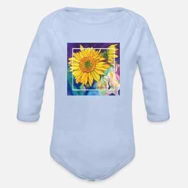 Watercolor Crystals Sunflowers Watercolor - Organic Long-Sleeved Baby Bodysuit