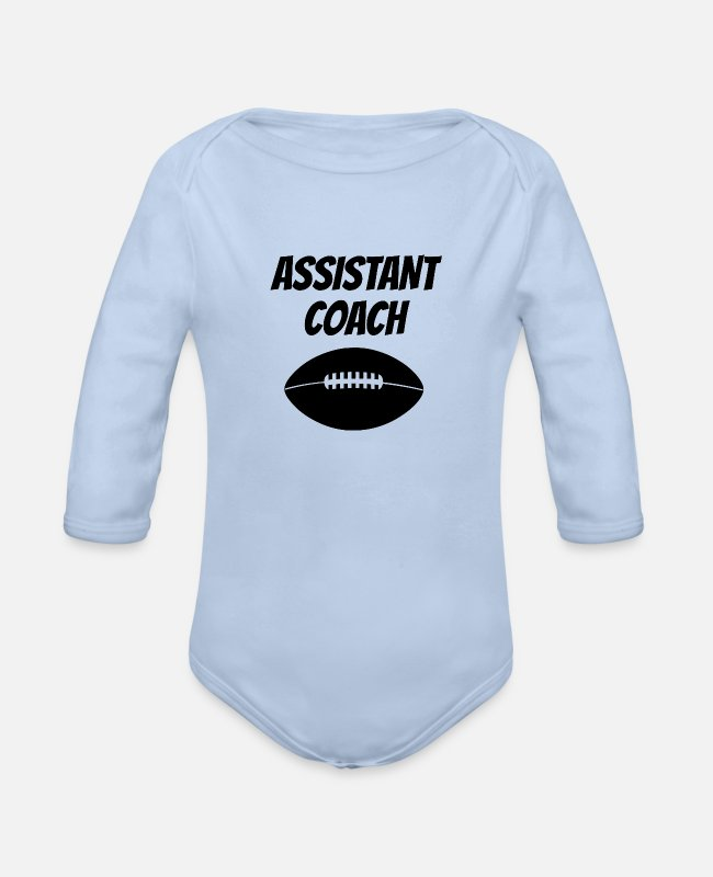 Rugby Baby One Pieces - Assistant Football Coach - Organic Long-Sleeved Baby Bodysuit sky