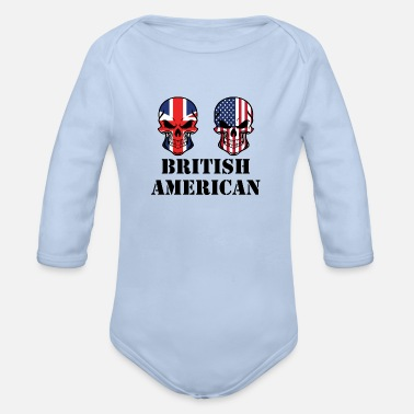 British British American Flag Skulls - Organic Long-Sleeved Baby Bodysuit