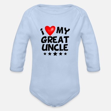 Heart I Love My Great Uncle - Organic Long-Sleeved Baby Bodysuit