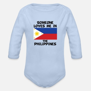 Filipino Kids Family Someone In the Philippines Loves Me - Organic Long-Sleeved Baby Bodysuit