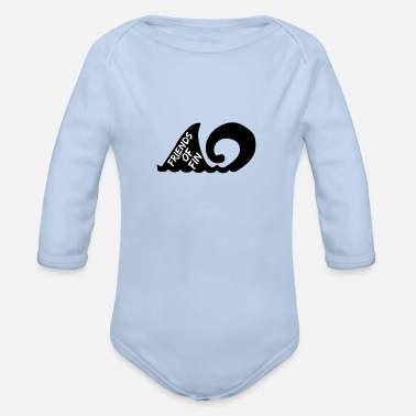 Shark Fin Friends Of Fin logo - Organic Long-Sleeved Baby Bodysuit