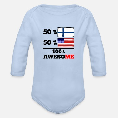Baby Half Finnish Half American 100% Awesome - Organic Long-Sleeved Baby Bodysuit