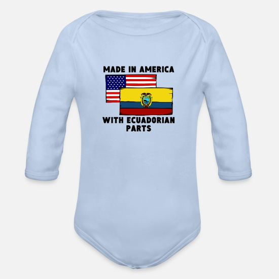 America Baby Clothing - Made In America With Ecuadorian Parts - Organic Long-Sleeved Baby Bodysuit sky