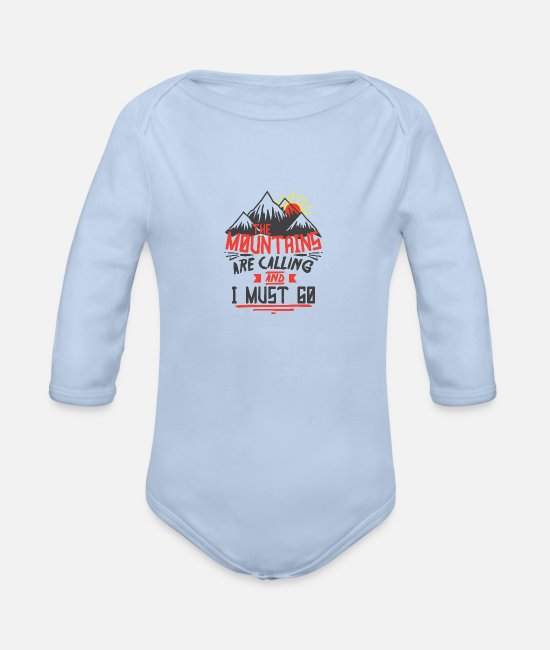 Mountains Baby One Pieces - the mountains are calling and i must go - Organic Long-Sleeved Baby Bodysuit sky