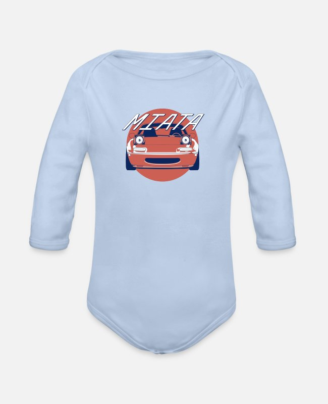 Automobile Baby One Pieces - Mazda MX 5 MK1 Car - Organic Long-Sleeved Baby Bodysuit sky