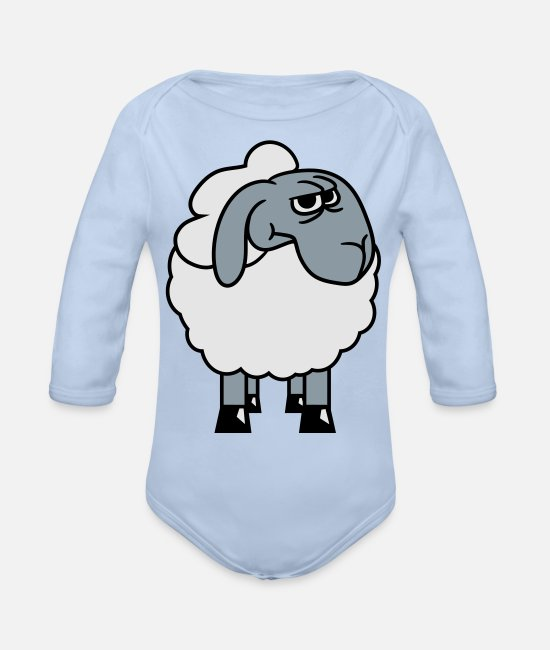 Shepherd Baby One Pieces - angry sour angry frustrated angered lamb baby funn - Organic Long-Sleeved Baby Bodysuit sky