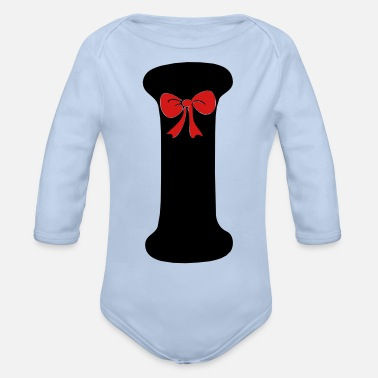 Vector Death Awareness Black Ribbons Bow Ties No ❤✔Alphabet I with a Red Ribbon✔❤ - Organic Long-Sleeved Baby Bodysuit