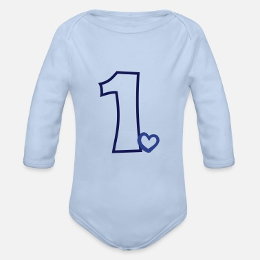 First Babys First Birthday Baby Shower Gift - Organic Long-Sleeved Baby Bodysuit