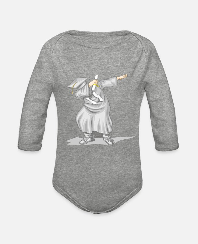 Graduation Baby One Pieces - The Dabbing Graduation Class - Organic Long-Sleeved Baby Bodysuit heather gray