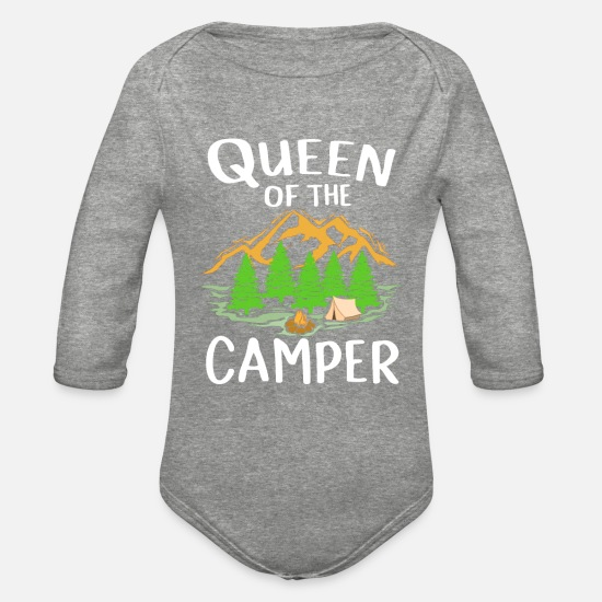 Tent Baby Clothing - Womens Camping Gift Print Queen Of The Camper - Organic Long-Sleeved Baby Bodysuit heather gray