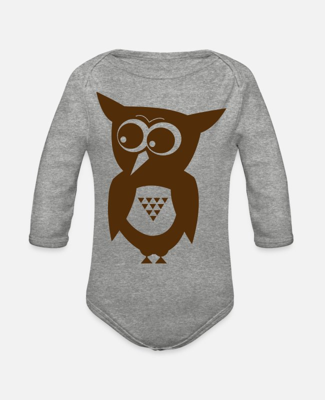 Shoplifter Baby One Pieces - Owl one color flat! - Organic Long-Sleeved Baby Bodysuit heather gray