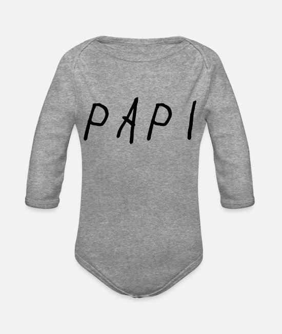 Champagne Papi Baby One Pieces - Papi - Organic Long-Sleeved Baby Bodysuit heather gray