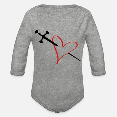 Serce heart - Organic Long-Sleeved Baby Bodysuit