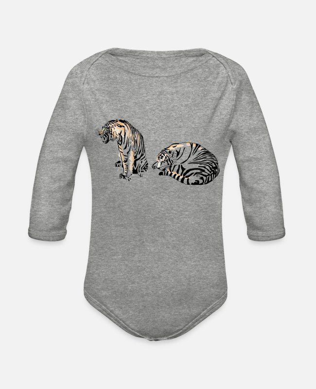 Wild Cat Baby One Pieces - Tigers - Organic Long-Sleeved Baby Bodysuit heather gray