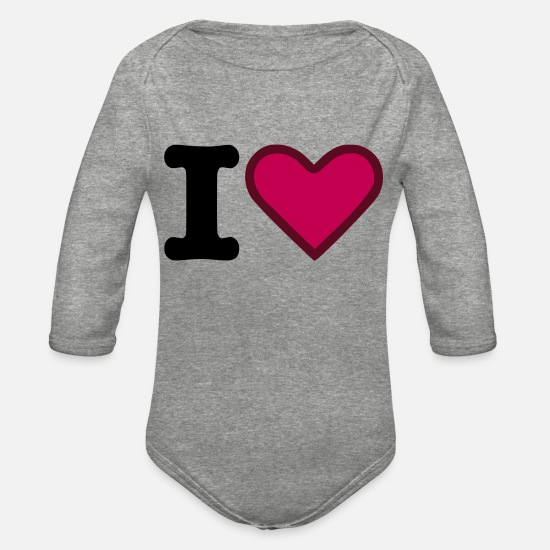 Love Baby Clothing - I Heart and I Love - Organic Long-Sleeved Baby Bodysuit heather gray