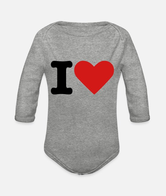 Heart Baby One Pieces - I Heart - Organic Long-Sleeved Baby Bodysuit heather gray