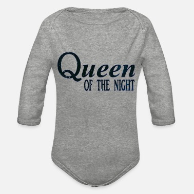 queen dark blue small - Organic Long-Sleeved Baby Bodysuit