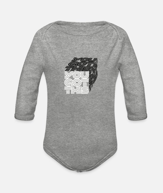 "Young Baby One Pieces - ""You got this"" in 3D cube, white n black - Organic Long-Sleeved Baby Bodysuit heather gray"