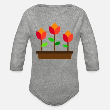 flowers illustration - Organic Long-Sleeved Baby Bodysuit