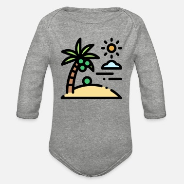 island illustration - Organic Long-Sleeved Baby Bodysuit
