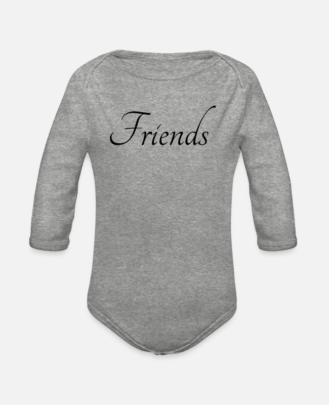 Friendship Baby One Pieces - Friends - Organic Long-Sleeved Baby Bodysuit heather gray