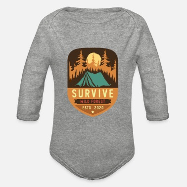 Wild And One Survive wild Forest - Organic Long-Sleeved Baby Bodysuit