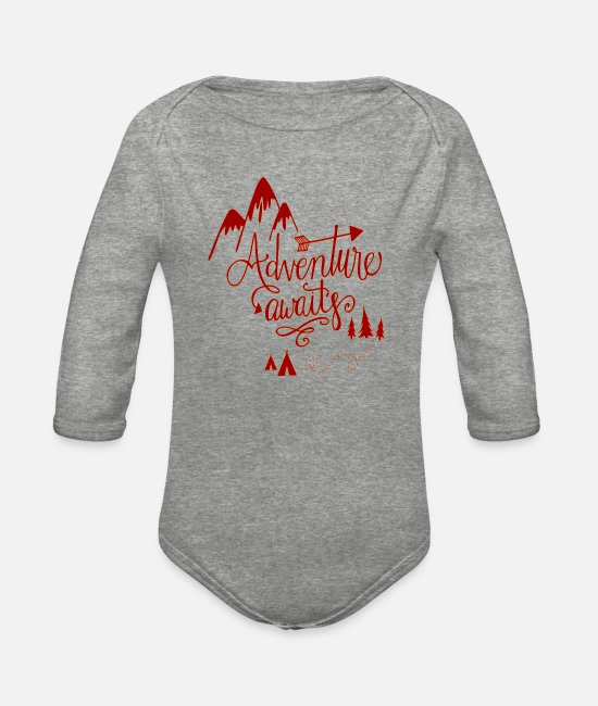 Mountains Baby One Pieces - Adventure Awaits - Organic Long-Sleeved Baby Bodysuit heather gray