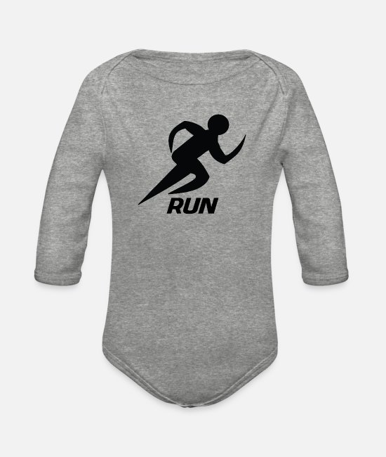 Runner Baby One Pieces - Runner - Organic Long-Sleeved Baby Bodysuit heather gray