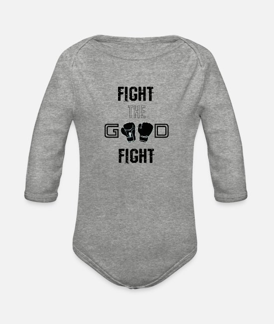 Fight The Good Fight Baby One Pieces - Fight the Good Fight Black - Organic Long-Sleeved Baby Bodysuit heather gray