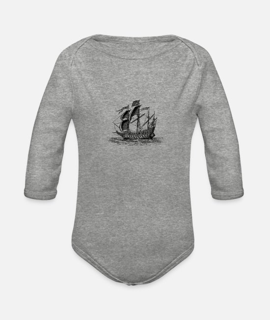 Sail Boat Baby One Pieces - ship - Organic Long-Sleeved Baby Bodysuit heather gray