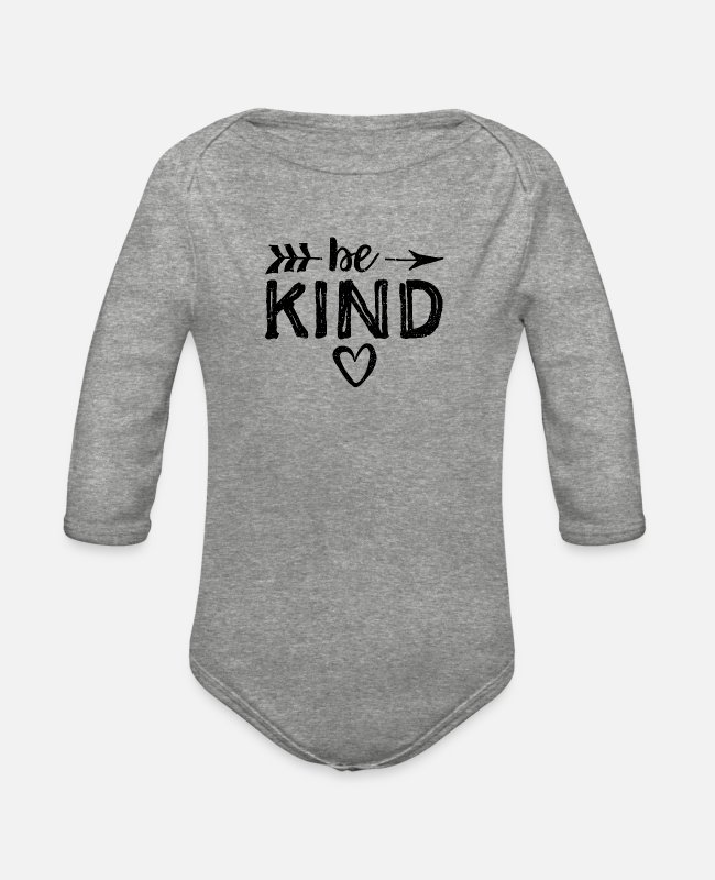 Sticker Baby One Pieces - Be Kind - Kindness - Organic Long-Sleeved Baby Bodysuit heather gray