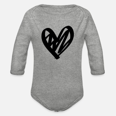 Love Is Hand drawn comic heart -love lover girlfriend cute - Organic Long-Sleeved Baby Bodysuit
