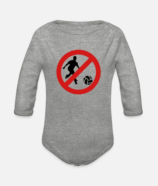 Passed Baby One Pieces - Prohibit Ball Games - Organic Long-Sleeved Baby Bodysuit heather gray