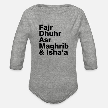 Style The Five Daily Muslim Prayer Times (Black Letters) - Organic Long-Sleeved Baby Bodysuit