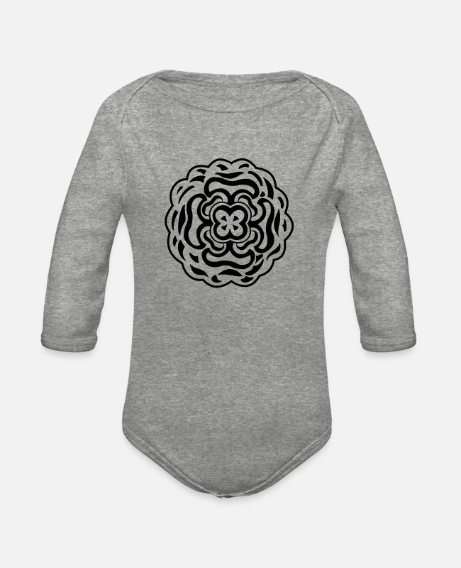 Design Baby One Pieces - Cool tribal tattoo design - Organic Long-Sleeved Baby Bodysuit heather gray