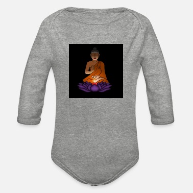 Buddha with candle - Organic Long-Sleeved Baby Bodysuit