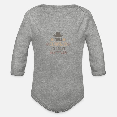 Town New cowboy in town - Organic Long-Sleeved Baby Bodysuit