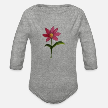 Watercolour Watercolour Flower - Organic Long-Sleeved Baby Bodysuit