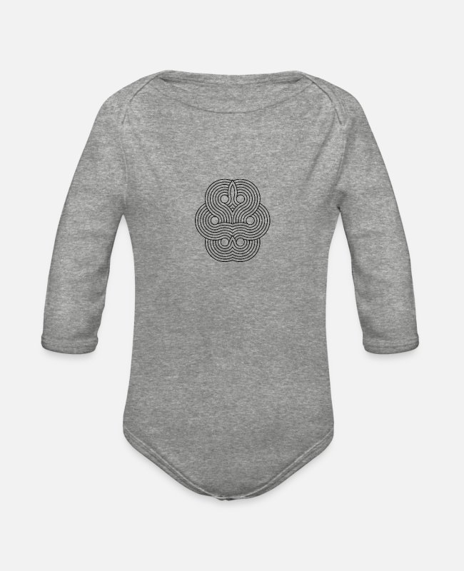 Visualization Baby One Pieces - Mandala Yoga Optical Illusion Zen Paradoxon Gift - Organic Long-Sleeved Baby Bodysuit heather gray