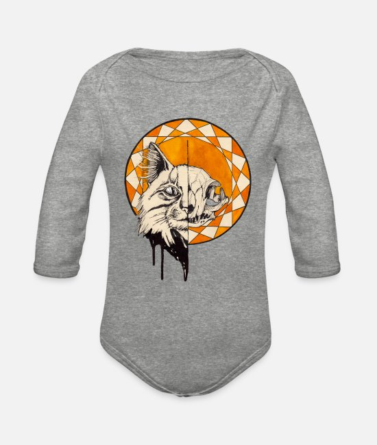 Catcher Baby One Pieces - Watercolor Saint Cat - Organic Long-Sleeved Baby Bodysuit heather gray