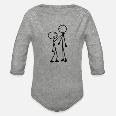 Stick Stick man, stick fight - Organic Long-Sleeved Baby Bodysuit