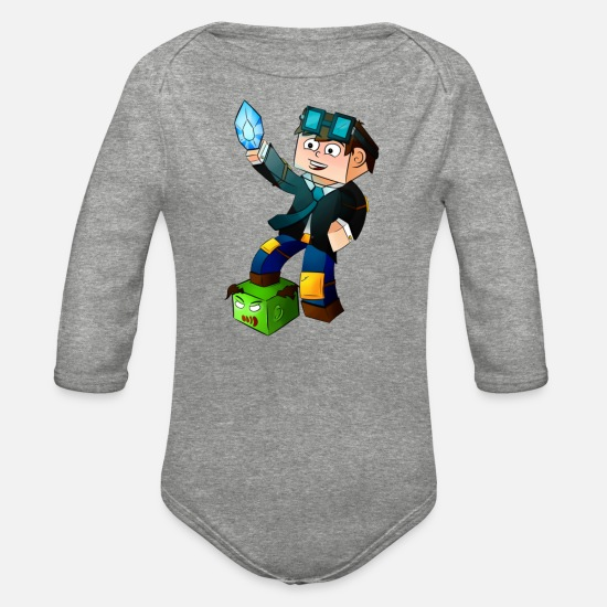 Games Baby Clothing - dantdm game fans - Organic Long-Sleeved Baby Bodysuit heather gray