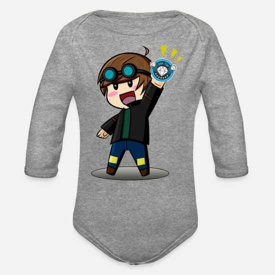 Cartoon Baby Clothing - DAN TDM Cartoon Diamond Minecart - Organic Long-Sleeved Baby Bodysuit heather gray