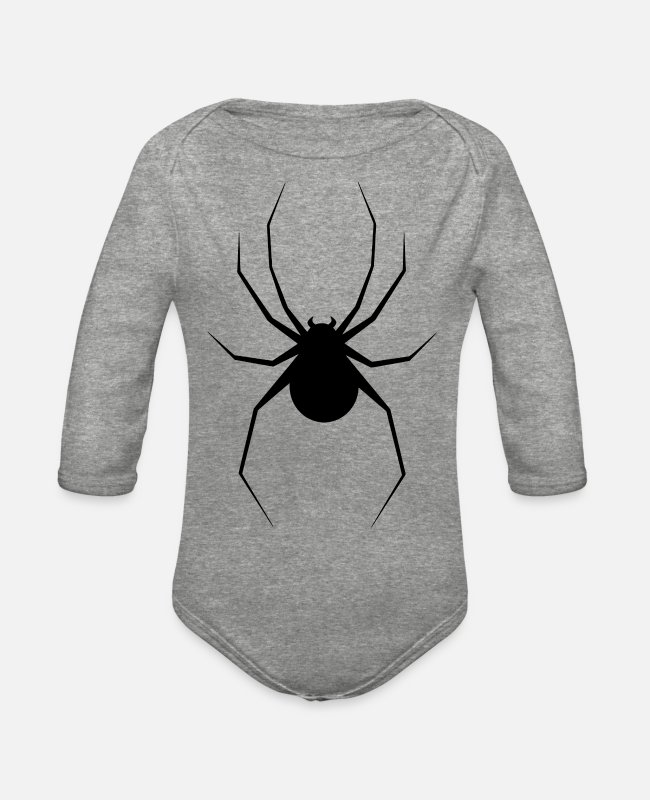 Shoplifter Baby One Pieces - Spider Silhouette - Organic Long-Sleeved Baby Bodysuit heather gray