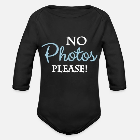 No Baby Clothing - No photos please - Organic Long-Sleeved Baby Bodysuit black