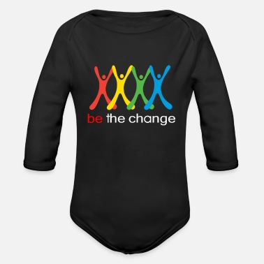 Change be the change - Organic Long Sleeve Baby Bodysuit