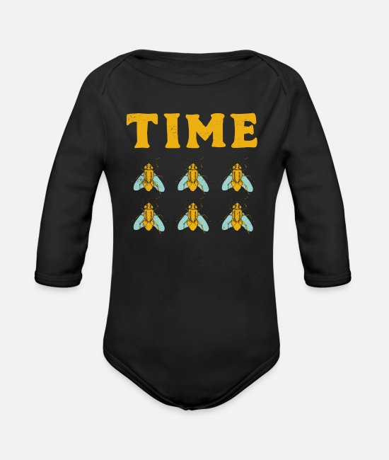 Quote Baby One Pieces - Time is Flying Fast Funny Pun Expression Insect - Organic Long-Sleeved Baby Bodysuit black